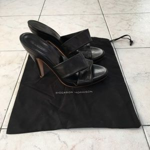 Sigerson Morrison Black Leather Heel Sandals
